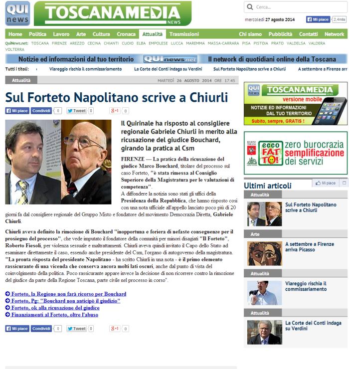Sul Forteto Napolitano scrive a Chiurli_ToscanaMedia