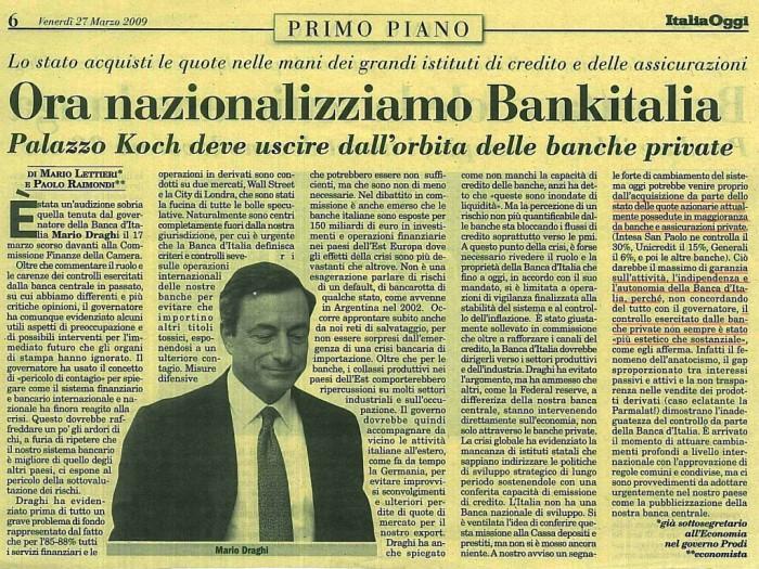 Ora Nazionalizziamo Bankitalia