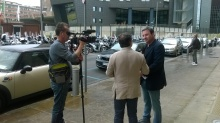 Gabriele Chiurli nei pressi del Tribunale di Firenze questa mattina