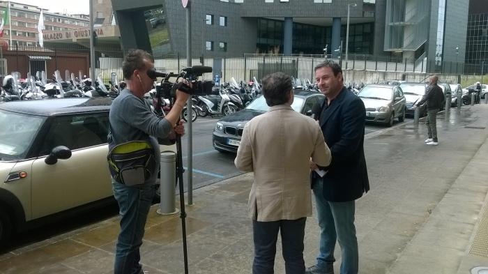 Gabriele Chiurli fuori dal Tribunale di Firenze questa mattina